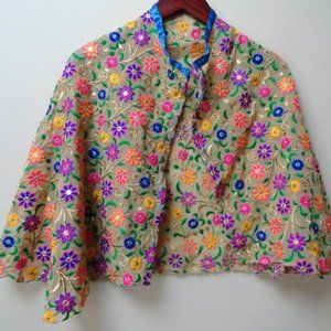 3/$20 shawl scarf embroidered flowers
